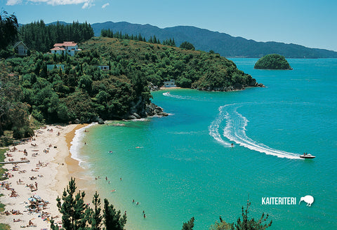 SNE736 - Breaker & Honeymoon Bays, Kaiteriteri - Small Post - Postcards NZ Ltd