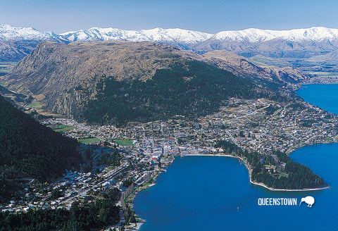 SQT804 - Queenstown from the Air - Small Postcard - Postcards NZ Ltd