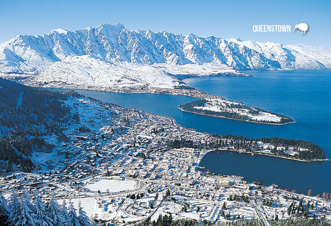 SQT805 - Queenstown In Winter Snow - Small Postcard