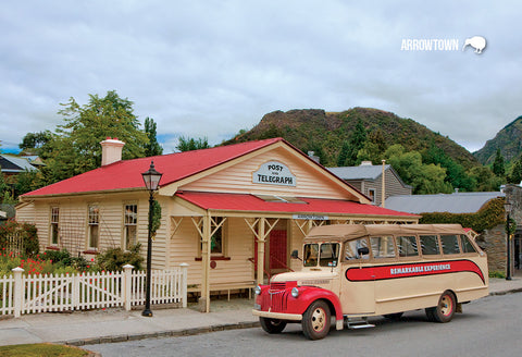 SQT844 - Arrowtown Post Offce Double Decker Bus - Small Pos - Postcards NZ Ltd