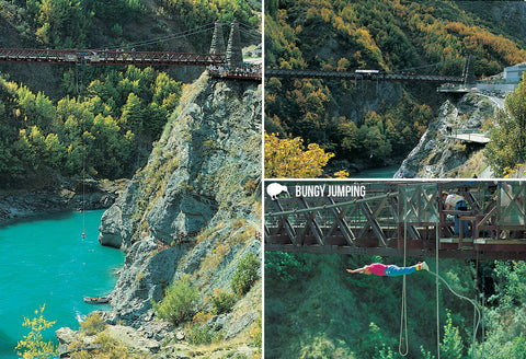 SQT851 - Bungy Jumping - Small Postcard - Postcards NZ Ltd