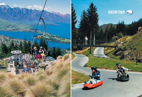 SQT855 - Luge, Skyline Gondolas, Queenstown - Small Postcar - Postcards NZ Ltd