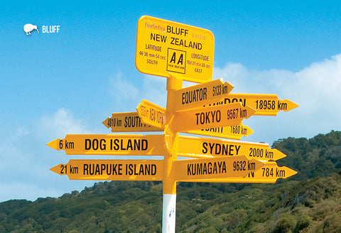 SSO908 - Bluff Signpost - Small Postcard - Postcards NZ Ltd