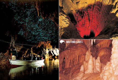 SWC967 - Waitomo Caves Multi - Small Postcard - Postcards NZ Ltd