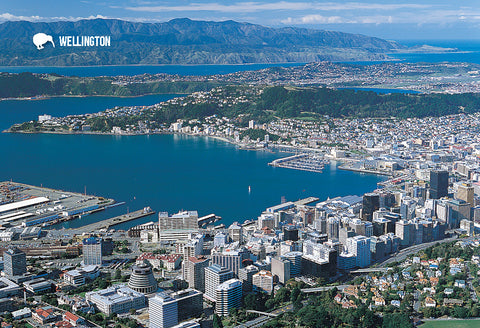 SWG1006 - Aerial Of Wellington City - Small Postcard - Postcards NZ Ltd