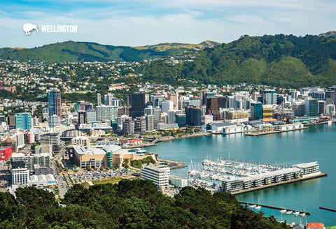 SWG1006 - Aerial Of Wellington City - Small Postcard