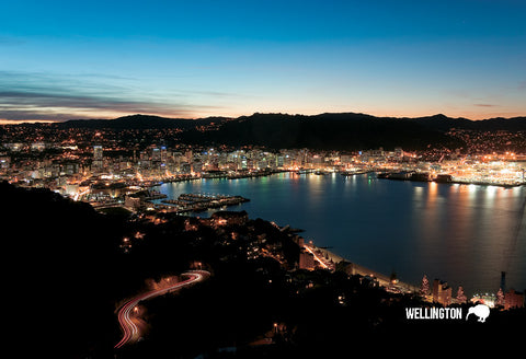 SWG997 - Wellington At Dusk - Small Postcard - Postcards NZ Ltd