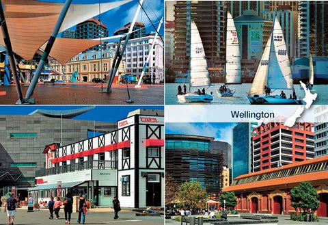 SWG1019 - Wellington 4 View Multi - Small Postcard - Postcards NZ Ltd