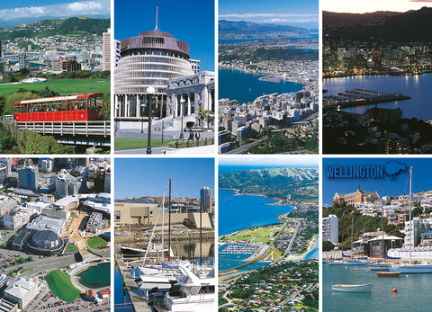 LWG188 - Wellington 8 View Multi - Large Postcard - Postcards NZ Ltd