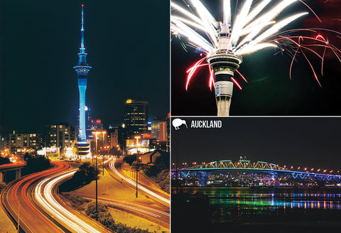 SAU136 - Auckland City At Night - Small Postcard - Postcards NZ Ltd