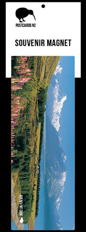 PCM102 - Mt Cook and Lupins - Panoramic Magnet - Postcards NZ Ltd
