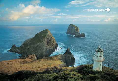 SBI178 - Cape Brett Lighthouse & Piercy Island - Small Post - Postcards NZ Ltd