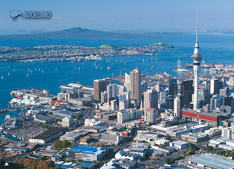 LAU001 - Auckland And Rangitoto Island - Large Postcard - Postcards NZ Ltd