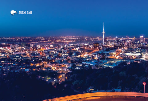 SAU101 - Auckland City At Night - Small Postcard - Postcards NZ Ltd
