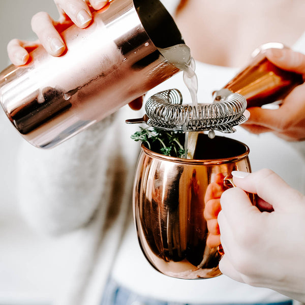 COPPER COCKTAIL STRAINER + SHOT GLASS