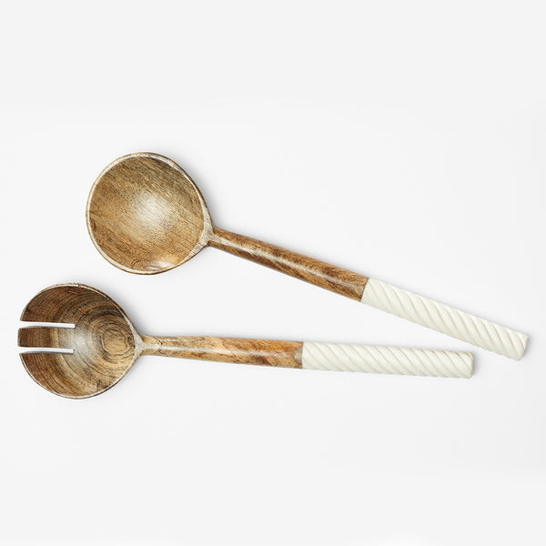 SPIRAL BONE SERVING SPOONS