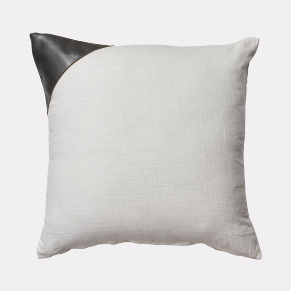 LEATHER ACCENT PILLOW COVER