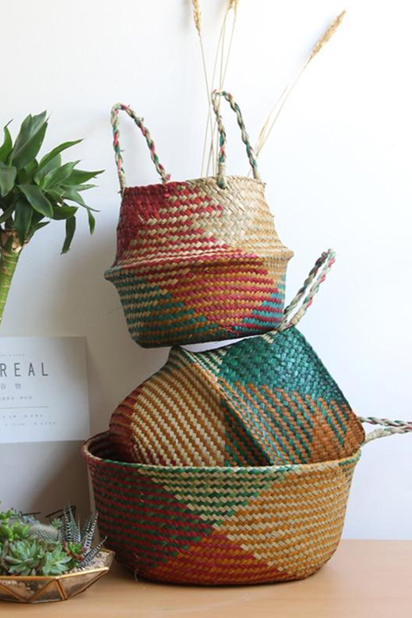 Colorful Seagrass Woven Baskets