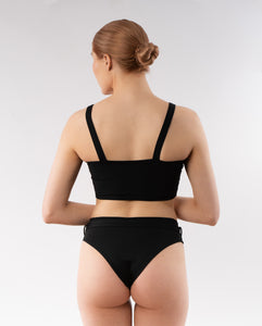 Skye bikini bottom with belt - black