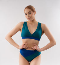 Load image into Gallery viewer, Solar high waisted bikini bottom - blue-turquoise
