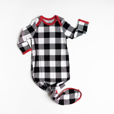 Black & White Plaid Bamboo Viscose Infant Knotted Gown