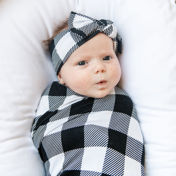 Black & White Plaid Bamboo Viscose Swaddle + Headband Set