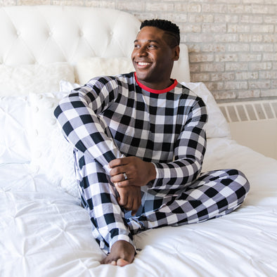 Black & White Plaid Men's Two-Piece Bamboo Viscose Pajama Set