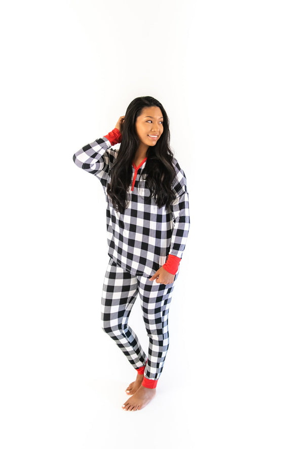 Black & White Plaid Women's Two-Piece Bamboo Viscose Pajama Set