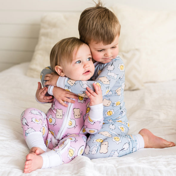 Blue Breakfast Buddies Two-Piece Toddler/Kids Bamboo Pajama Set