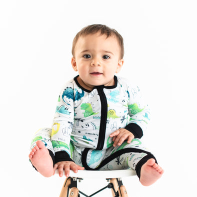 Blue/Green Dinosaurs Baby & Toddler Bamboo Zip Romper/Sleeper
