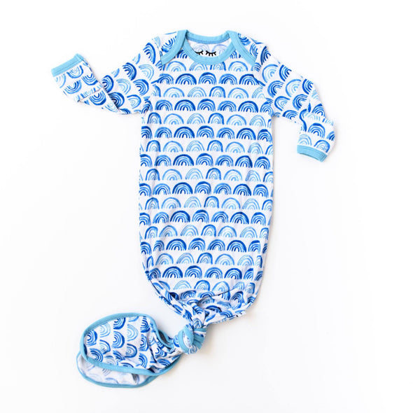 Blue Rainbow Bamboo Infant Knotted Gown