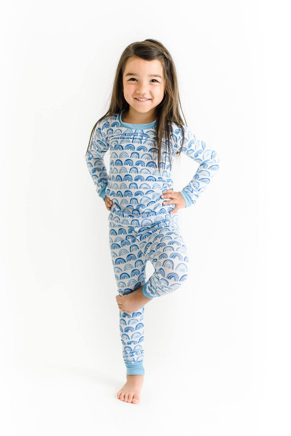 Blue Rainbow Two-Piece Bamboo Pajama Set