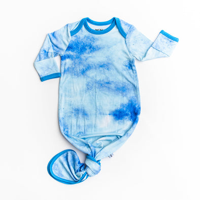 Blue Watercolor Bamboo Infant Knotted Gown