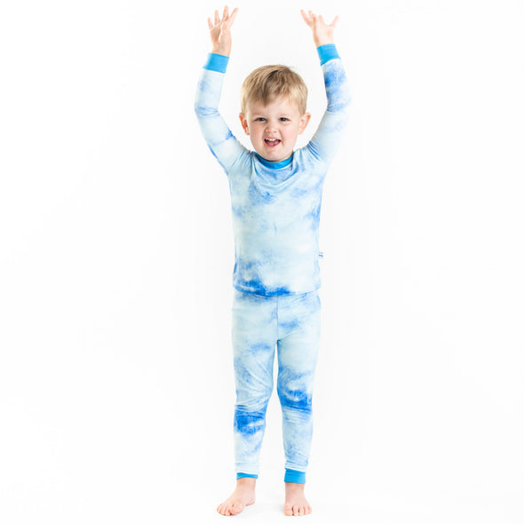 Blue Watercolor Two-Piece Bamboo Pajama Set