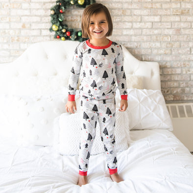 Christmas Trees Two-Piece Toddler/Kids Bamboo Viscose Pajama Set