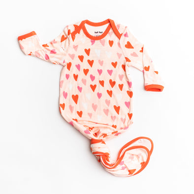 Hearts Bamboo Infant Knotted Gown