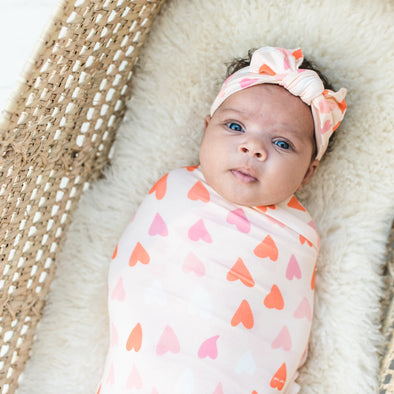 Hearts Bamboo Swaddle + Headband Set