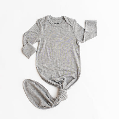 Heather Gray Bamboo Infant Knotted Gown