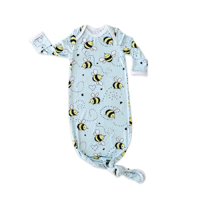 Knotted Gowns - Bees Bamboo Viscose Infant Knotted Gown