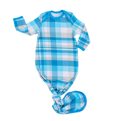 Knotted Gowns - Blueberry Plaid Bamboo Viscose Infant Knotted Gown