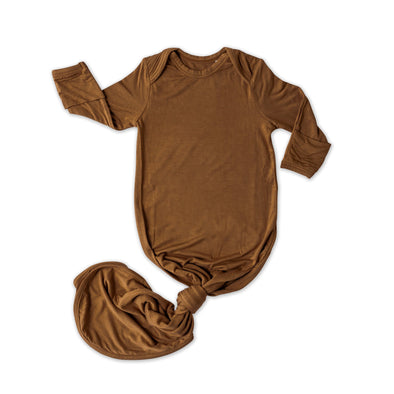 Knotted Gowns - Caramel Bamboo Viscose Infant Knotted Gown