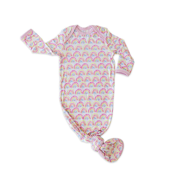 Knotted Gowns - Pastel Rainbows Bamboo Viscose Infant Knotted Gown