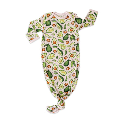 Knotted Gowns - Pink Avocados Bamboo Viscose Infant Knotted Gown