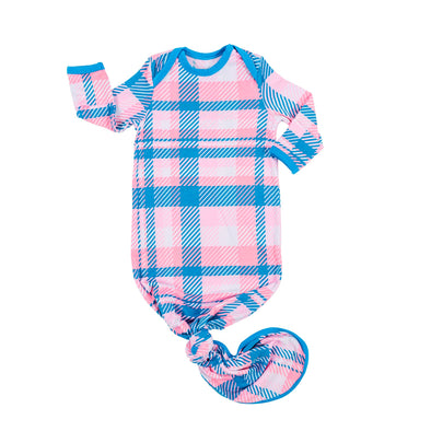 Knotted Gowns - Rosy Plaid Bamboo Viscose Infant Knotted Gown