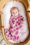 Knotted Gowns - Strawberries Bamboo Viscose Infant Knotted Gown
