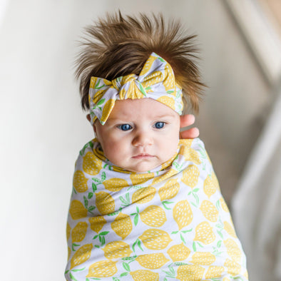 Lemons  Bamboo Swaddle + Headband Set
