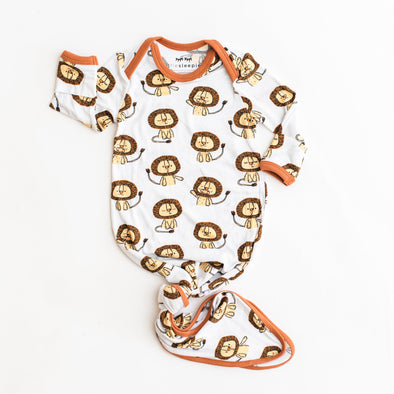 Lions Bamboo Infant Knotted Gown