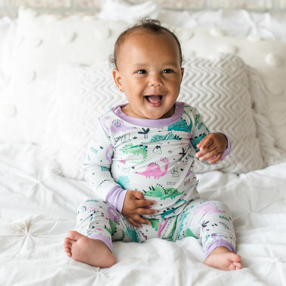 Pink/Purple Dinosaurs Two-Piece Bamboo Pajama Set