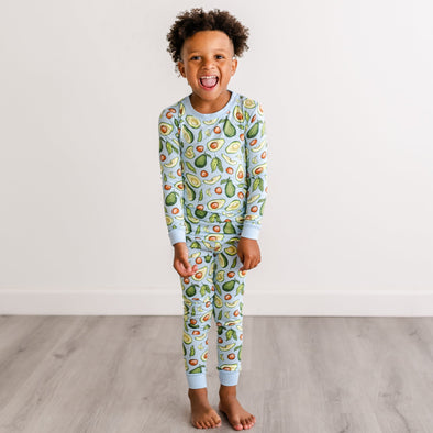 PJs - Blue Avocados Two-Piece Bamboo Viscose Pajama Set