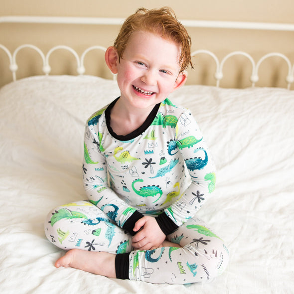 PJs - Blue/Green Dinosaurs Two-Piece Bamboo Viscose Pajama Set